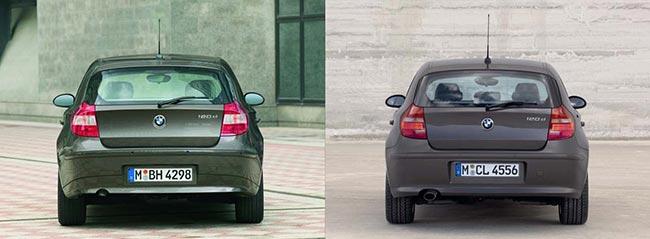 Сравнение-BMW-E87-до-(слева)-и-после-(справа)-рестайлинга