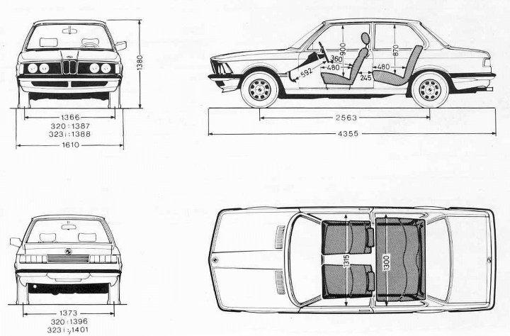 Размеры BMW E21 3 серии