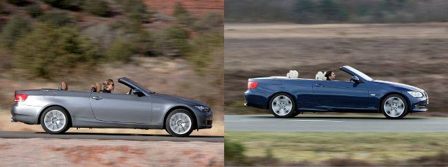 BMW E93 до и после рестайлинга - вид сбоку