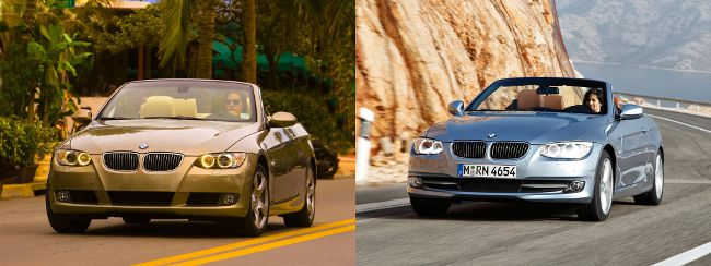 BMW E93 до и после рестайлинга - вид спереди