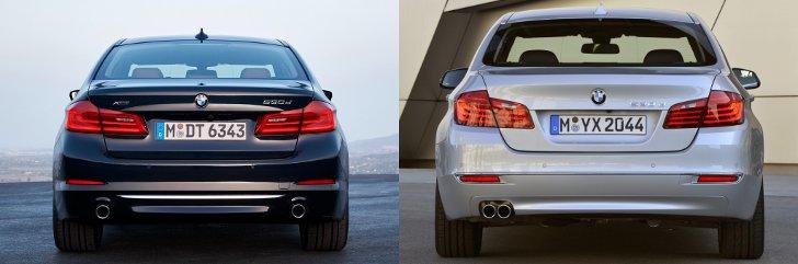BMW G30 vs F10 - вид сзади