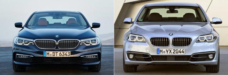 BMW G30 vs F10 - вид спереди