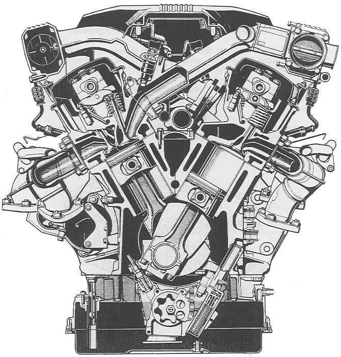 Двигатель БМВ М73 в разрезе