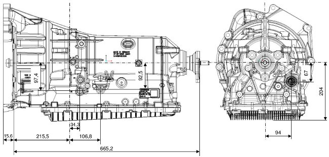 Размеры АКПП ZF 8HP50