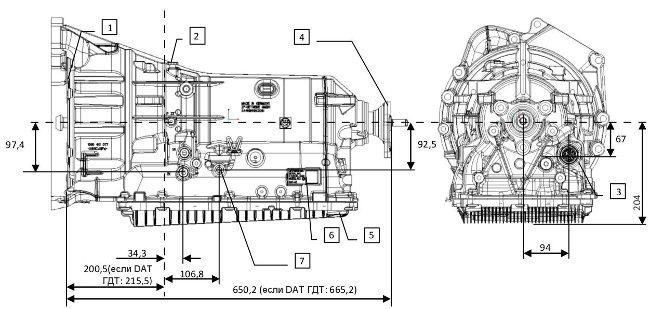 Размеры и структура 8HP45 ZF