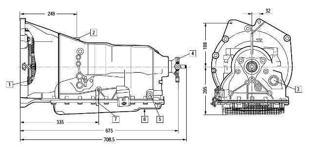 Размеры коробки передач 6HP19