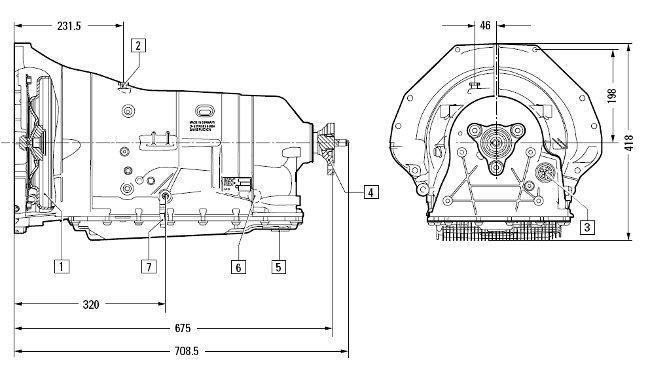 Размеры коробки передач 6HP26