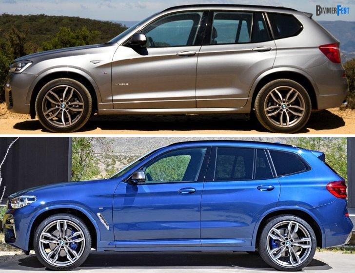 BMW X3 F25 vs BMW X3 G01 - вид сбоку