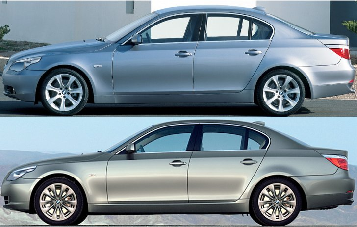 BMW E60 - доресталинг vs ресталинг 2007 - вид сбоку