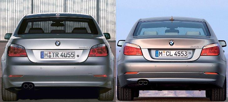 BMW E60 - доресталинг vs рестайлинг 2007 - вид сзади