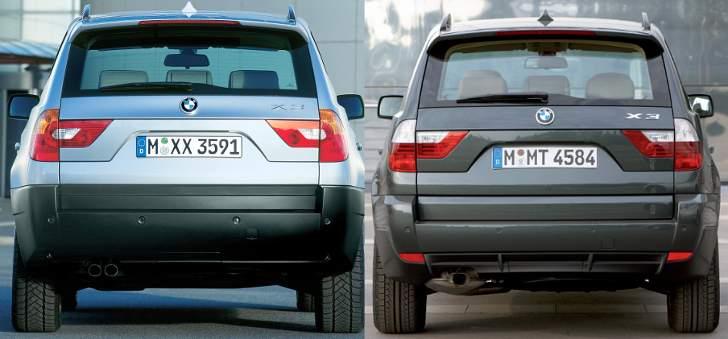 BMW X3 E83 - до и после рестайлинга - сзади
